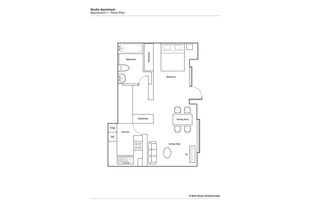Studio Apartment - Floor Plan