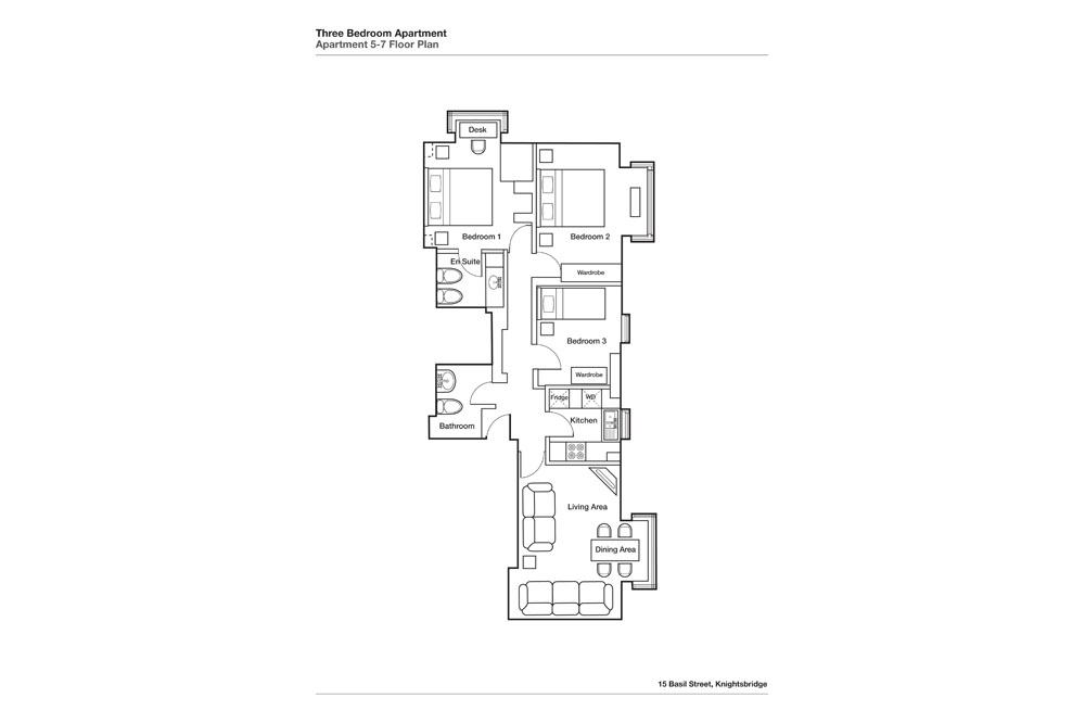 Three Bedroom Two Bathroom Apartment - Floor Plan