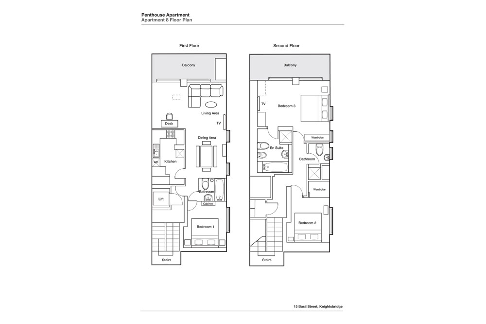 Three Bedroom Three Bathroom Penthouse Apartment - Floor Plan