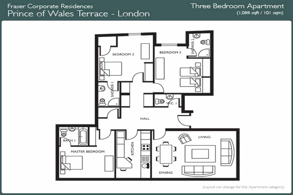 Executive Three Bedroom Apartment - Floor Plan