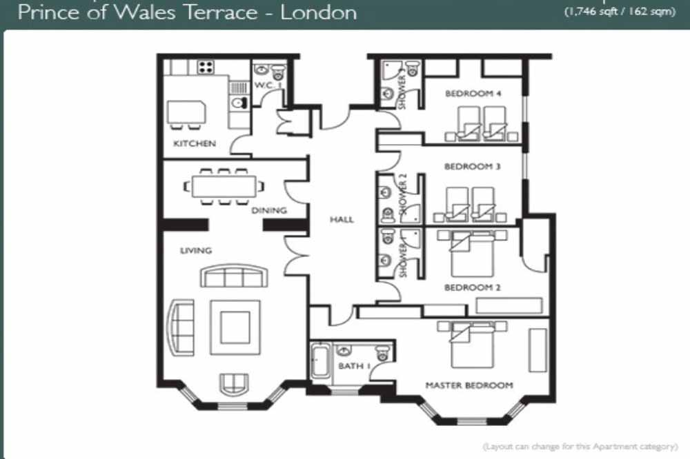 Executive Four Bedroom Apartment - Floor Plan