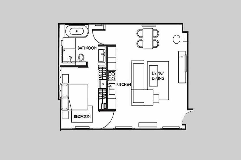 Executive One Bedroom Apartment - Floor Plan