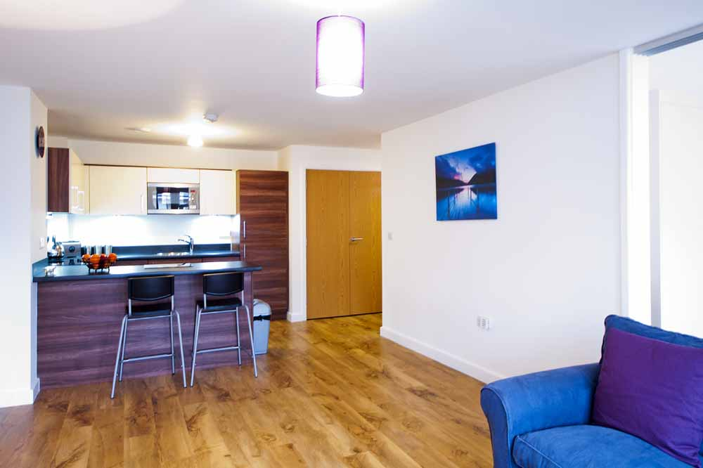Park West Apartments - Kitchen and Living Area